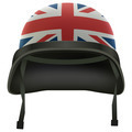 Military British flag helmet. Isolated on white background. Bitmap copy. - PhotoDune Item for Sale