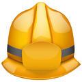 Gold fireman helmet. Isolated on white background. Bitmap copy. - PhotoDune Item for Sale
