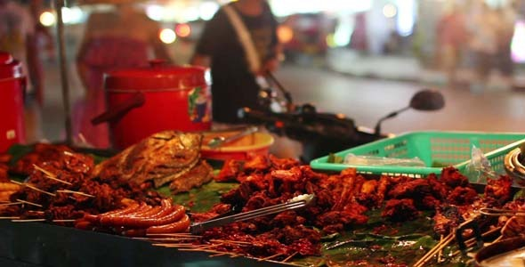 Spicy Thai Foods On Street