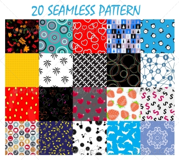 GraphicRiver Seamless Pattern Background Vector Set 8247066