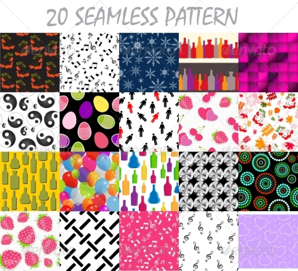GraphicRiver Seamless Pattern Background Vector Set 8247094