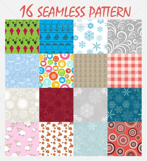 GraphicRiver Seamless Pattern Background Vector Set 8247099