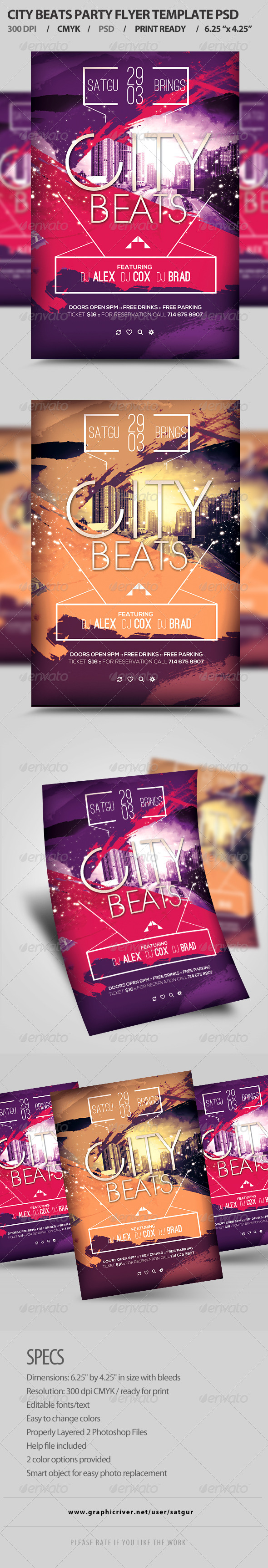 GraphicRiver City Beats Party Flyer Template PSD 8247150