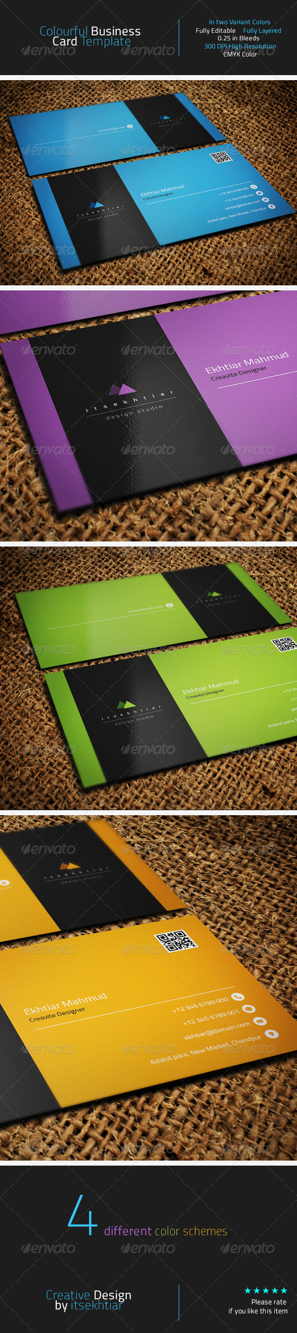 GraphicRiver Colourful Business Card Template 8247322