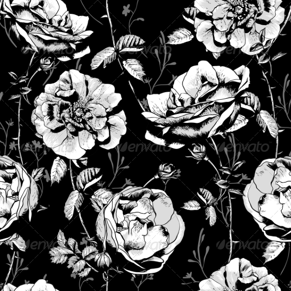 GraphicRiver Black and White Floral Seamless Background 8247861