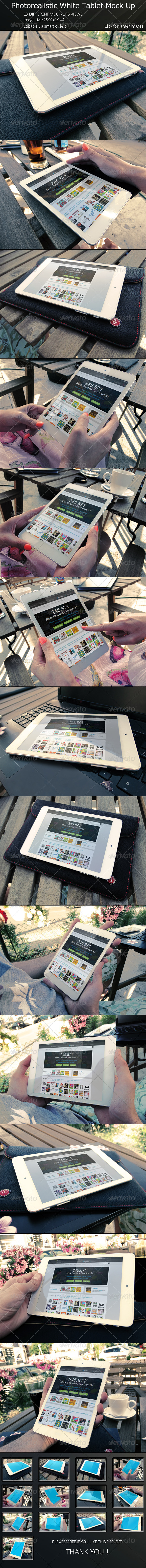 GraphicRiver Photorealistic White Tablet Mock Up 8248174