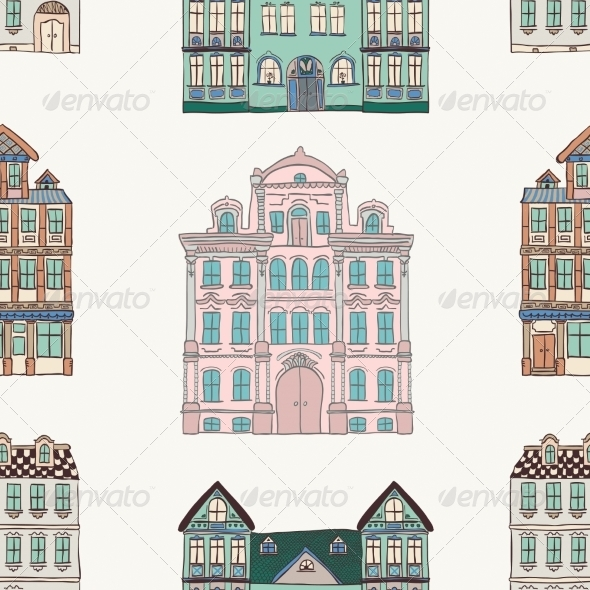 GraphicRiver Old Styled Houses Seamless Pattern 8249096