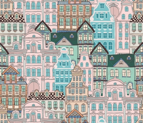 GraphicRiver Old Styled Houses Seamless Pattern 8249161