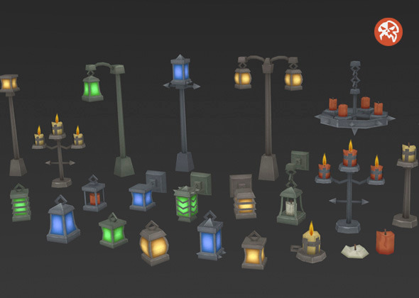 Low Poly Lantern Mega Pack - 3DOcean Item for Sale