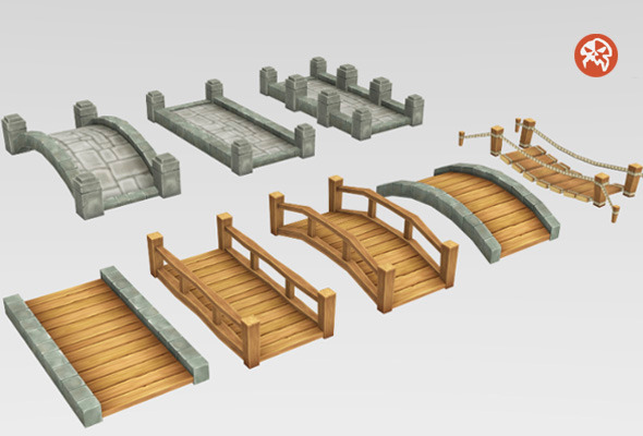 3DOcean Low Poly Tileable Bridges 8250075
