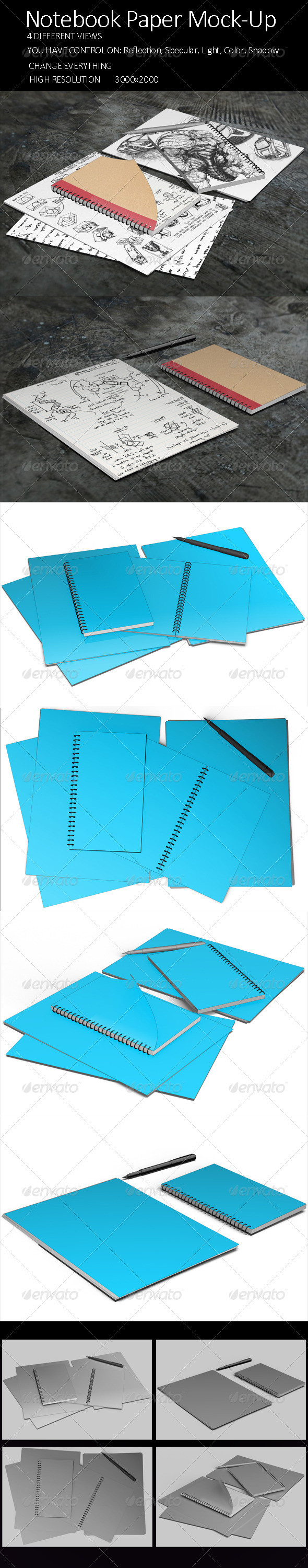 GraphicRiver Notebook Paper Mock Up 8250154