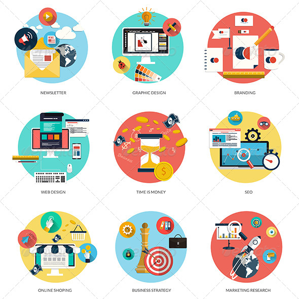 GraphicRiver Flat Icons Concept 8250245