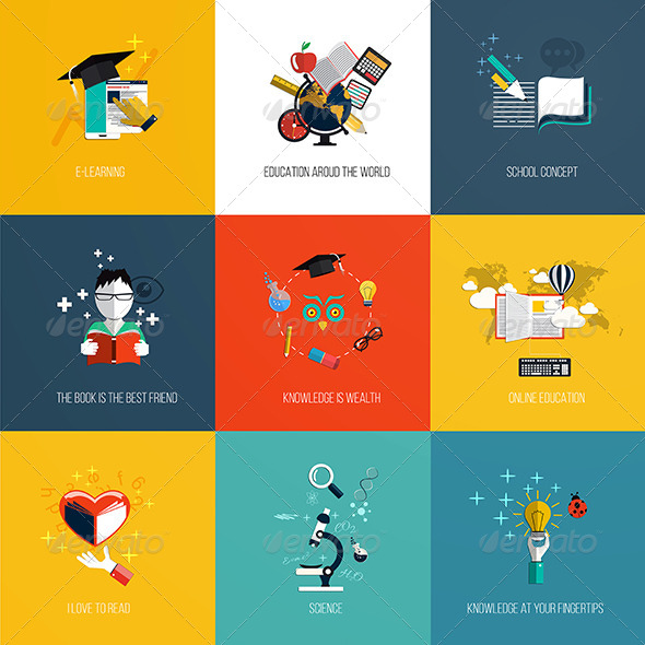 GraphicRiver Set of Education Icons 8250257