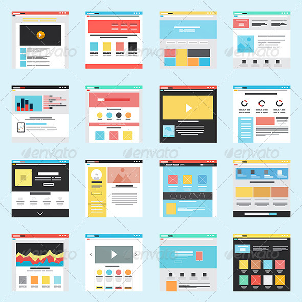 GraphicRiver Set of Flat Website Templates 8250259