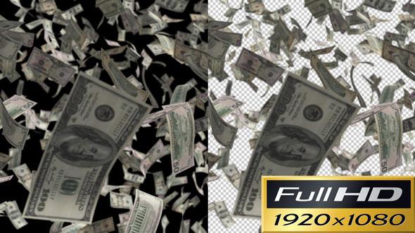 Money Flying at Camera