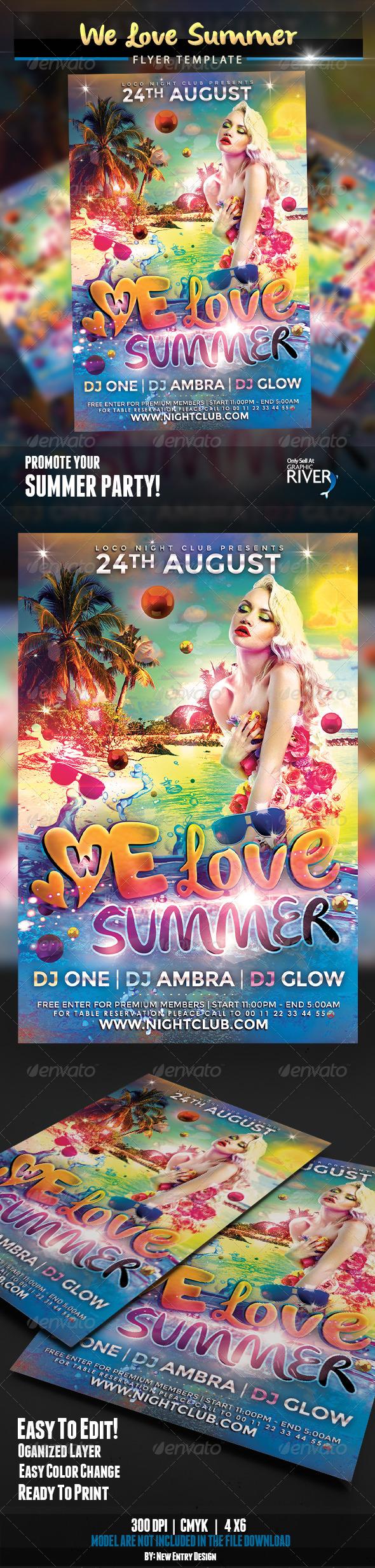 We Love Summer Flyer Template