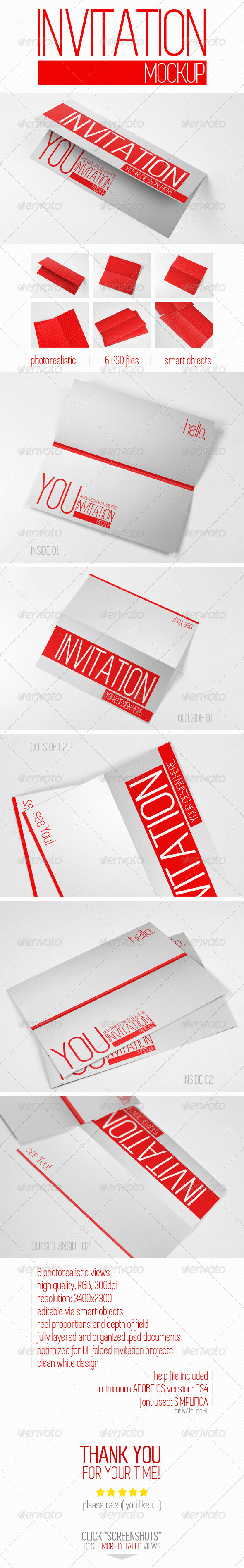 GraphicRiver Invitation Greeting Card Mock-Up 8250586