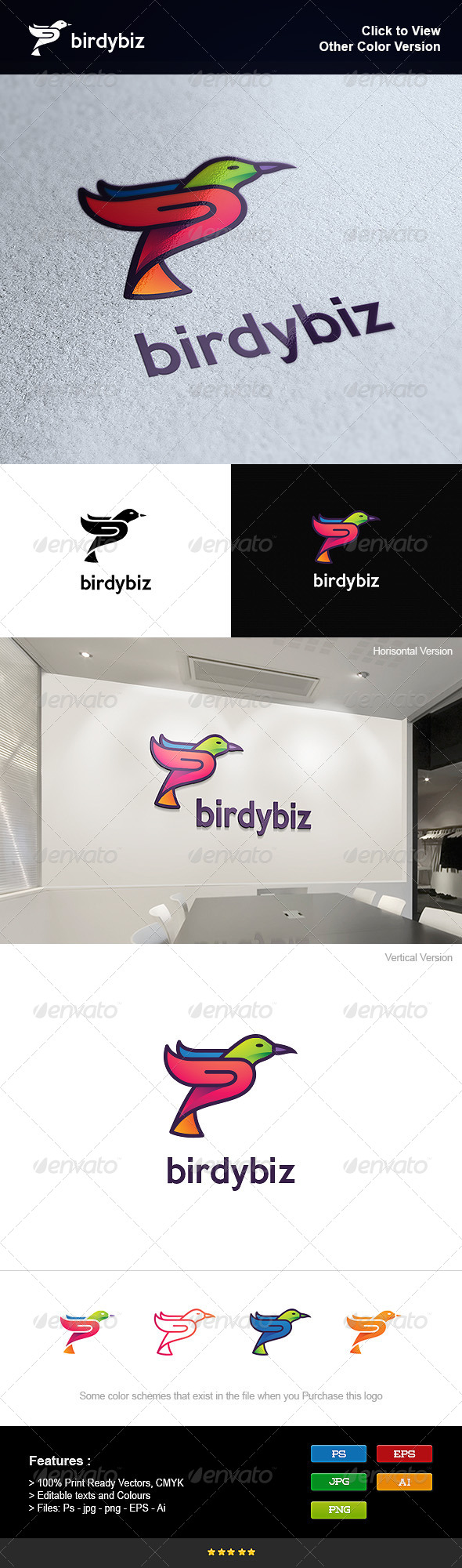 GraphicRiver Colorful Business Bird 8250716