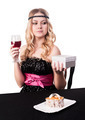 Beautiful blond woman with cake dessert and glass wine. She received gift - PhotoDune Item for Sale