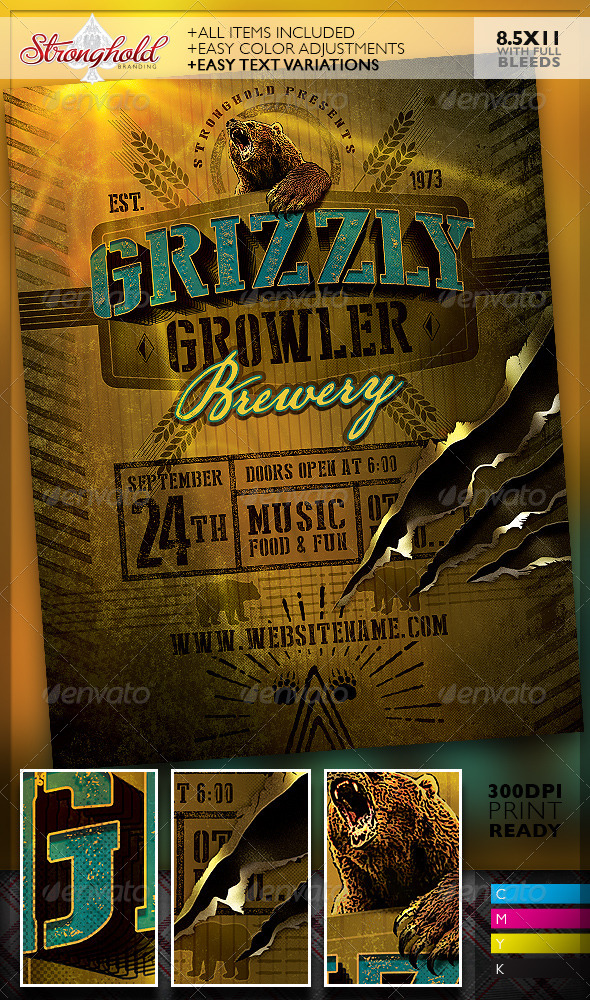 GraphicRiver Grizzly Bear Growler Brewery Flyer Template 8251330
