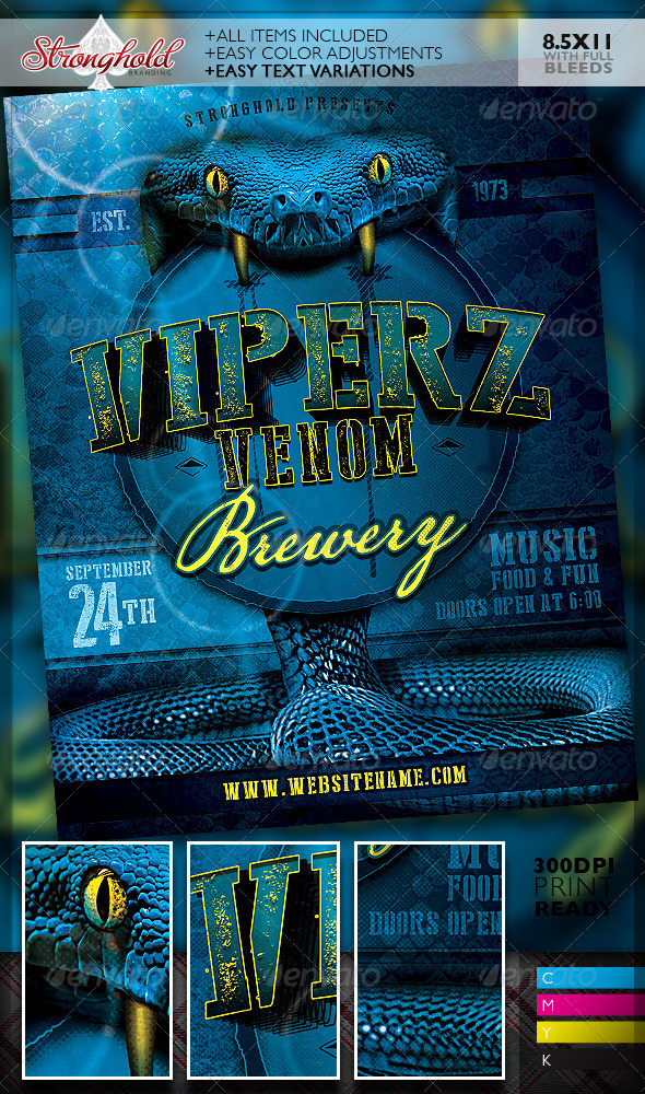 GraphicRiver Viper Venom Brewery Flyer Template 8251932
