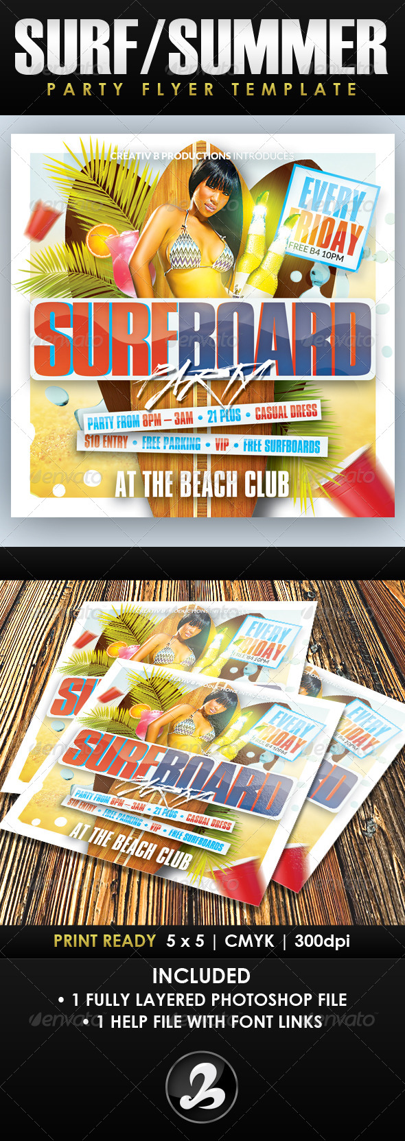 GraphicRiver Surfboard Party Flyer Template 8252161