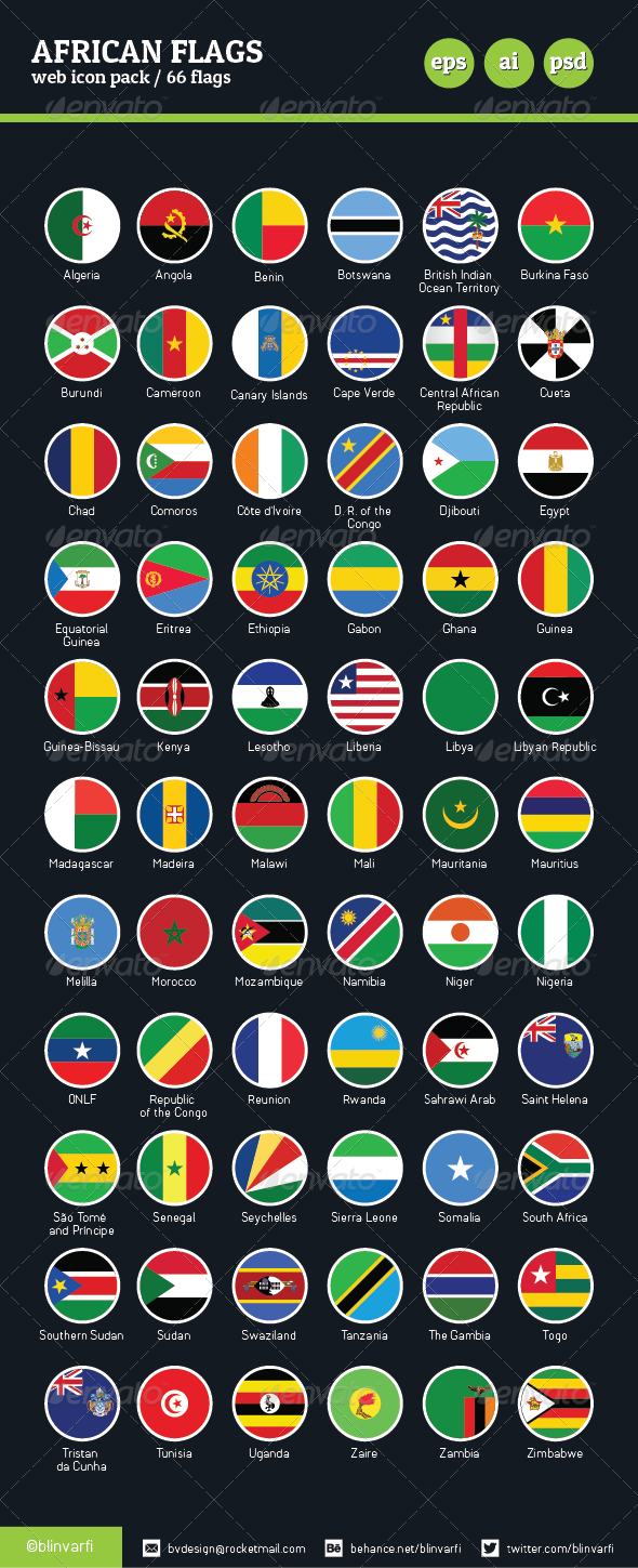 African Flags Vector / Flat & Glossy - Web Icons