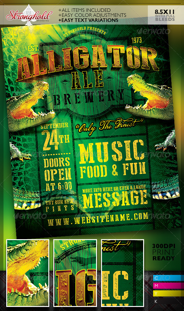 GraphicRiver Alligator Ale Brewery Flyer Template 8252559