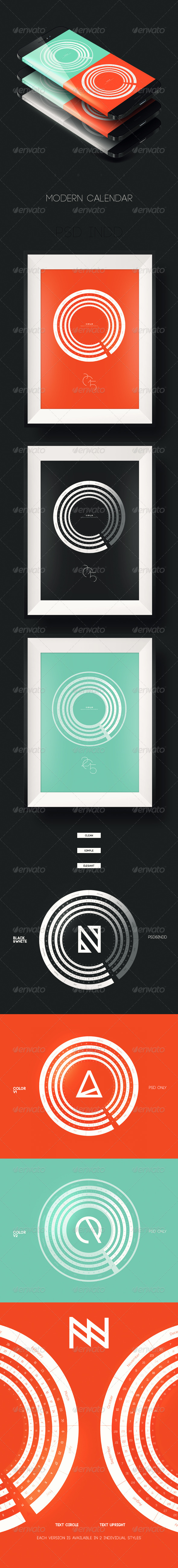 GraphicRiver Modern 2015 Circle Calendar 8252674