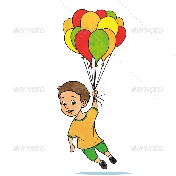 GraphicRiver Young Boy Flying with Balloons 8253337