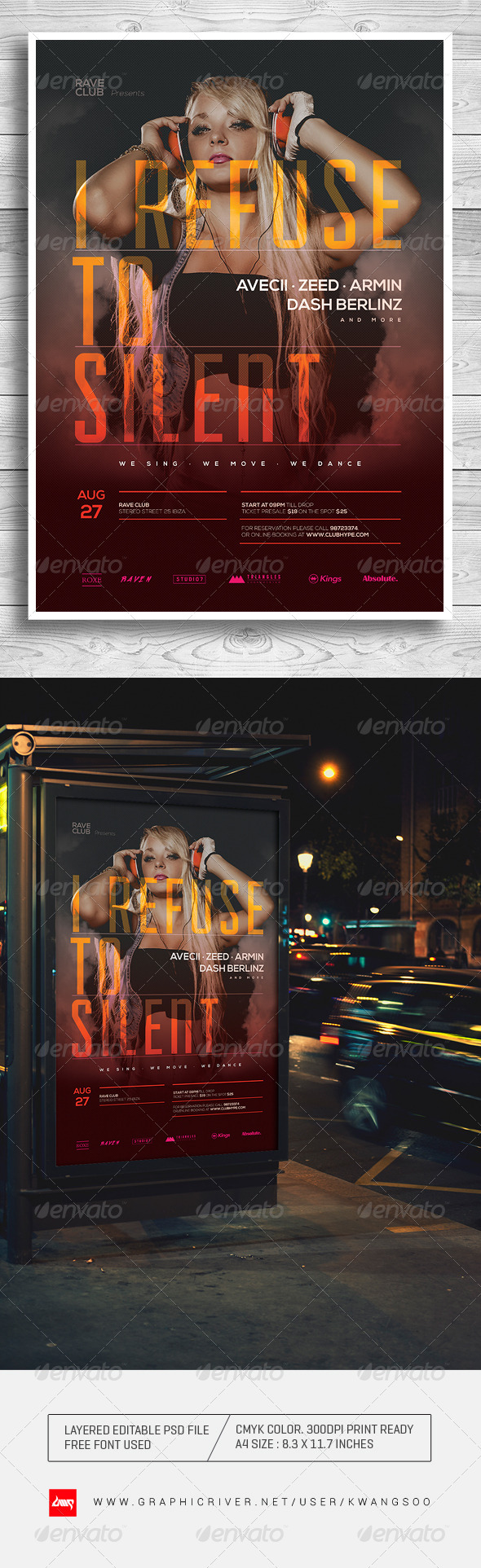 GraphicRiver Trance Electro Music Poster Flyer Template 8253389