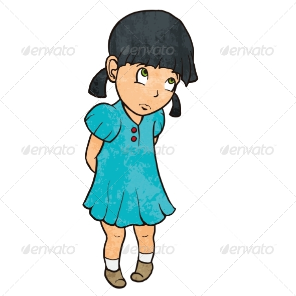 GraphicRiver Sad Guilty Little Girl in Blue Dress 8253531