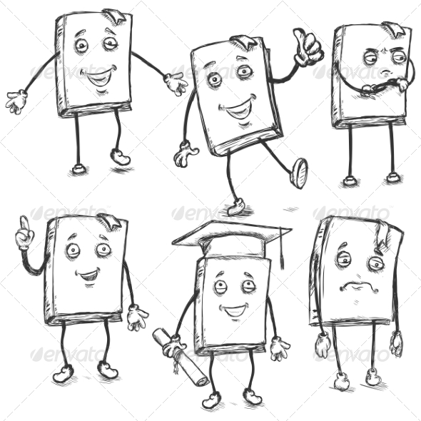 GraphicRiver Set of Sketch Characters Lively Books 8253685