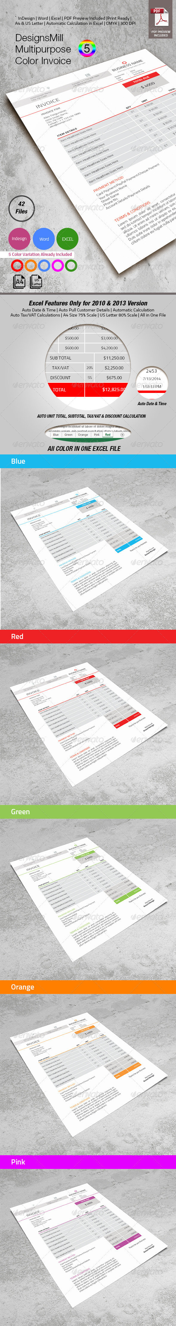 GraphicRiver DesignsMill 5 Color Invoice 8253694