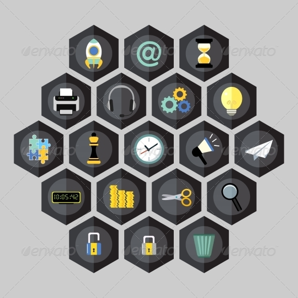 GraphicRiver Hexagon Business Icons 8253876