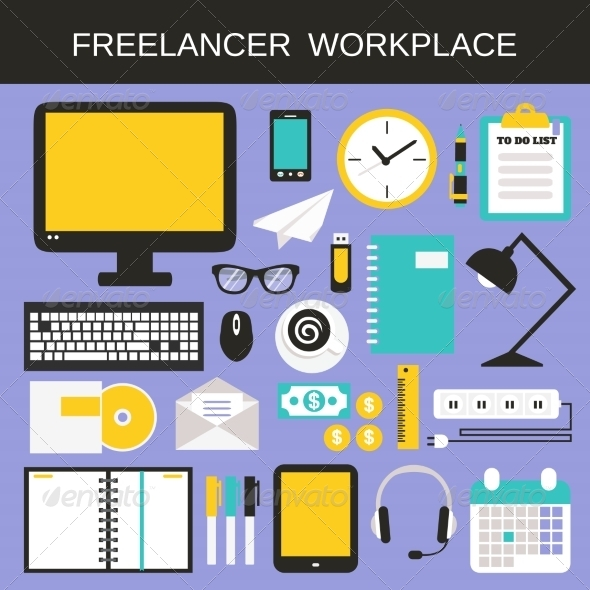 GraphicRiver Freelancer Workplace Icons Set 8253879