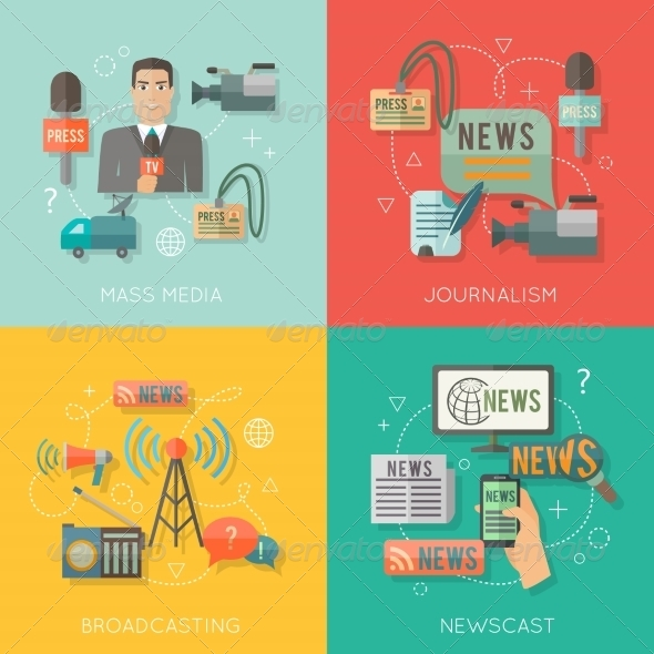 GraphicRiver Mass Media Concept Flat Business Composition 8253894