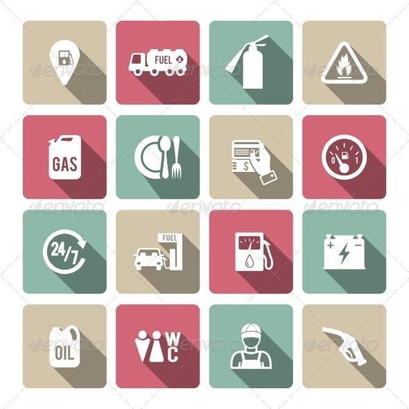 GraphicRiver Set of Auto Gasoline Service Icon 8254003