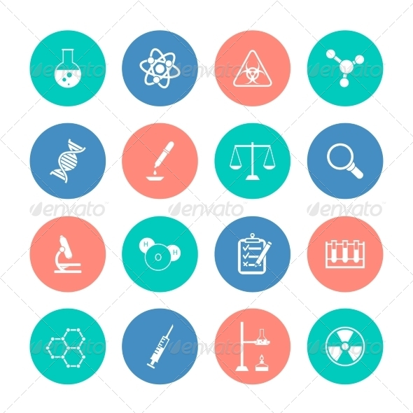 GraphicRiver Chemistry Icons on Color Circles 8254045