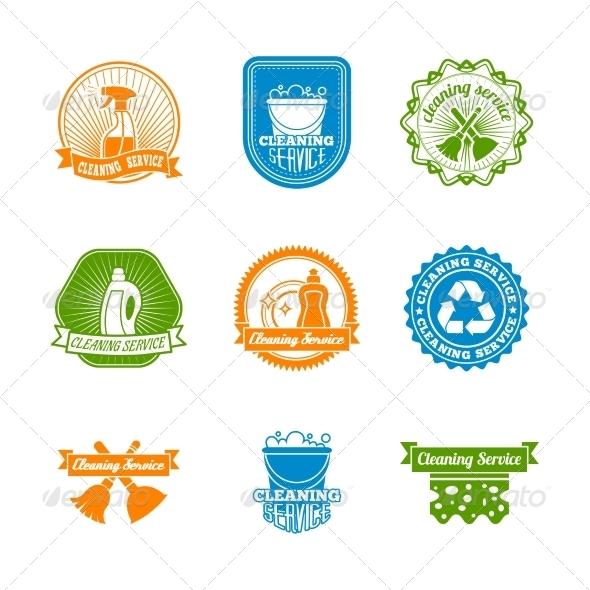 GraphicRiver Set of Colored Cleaning Labels 8254048