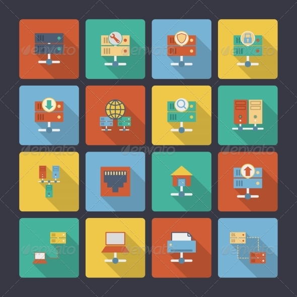 GraphicRiver Hosting Flat Icons 8254078
