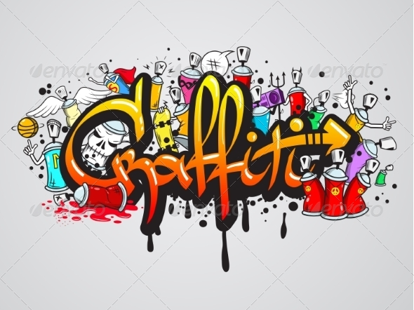 GraphicRiver Graffiti Characters Composition Print 8254107