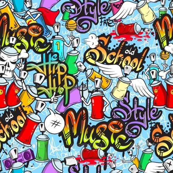 GraphicRiver Graffiti Characters Seamless Pattern 8254111