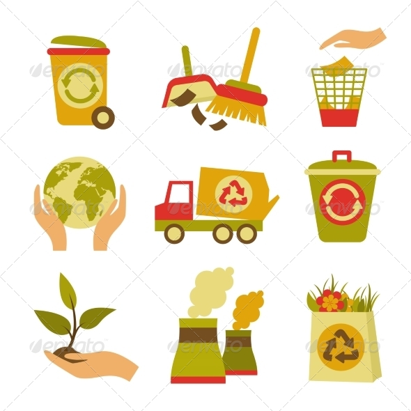 GraphicRiver Ecology and Waste Icon Set 8254227