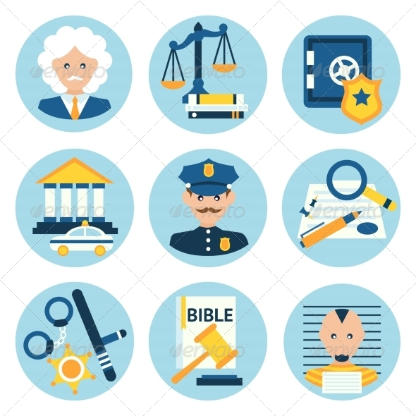 GraphicRiver Law Justice Police Icons 8254233