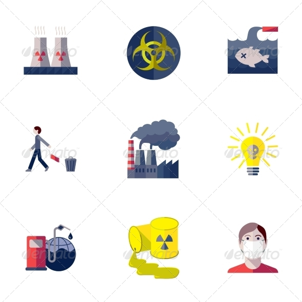 GraphicRiver Pollution Icons Set 8254271