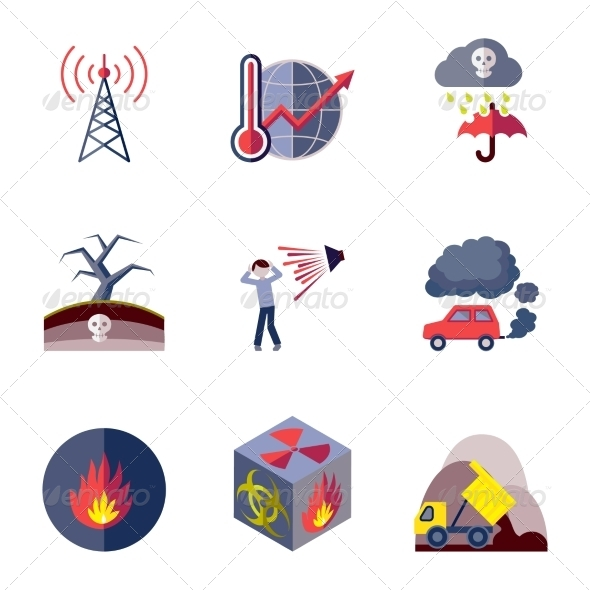 GraphicRiver Pollution Icons Set Flat 8254273