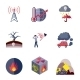 Pollution Icons Set Flat - GraphicRiver Item for Sale