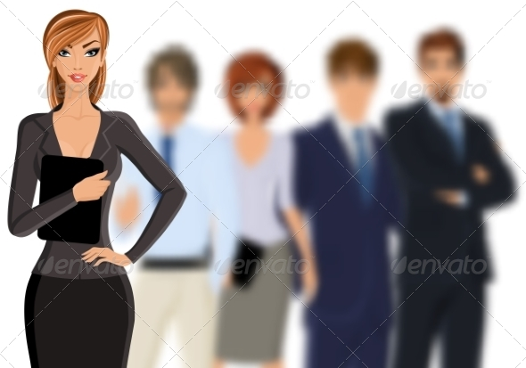 GraphicRiver Busines Woman with Business Team 8254348