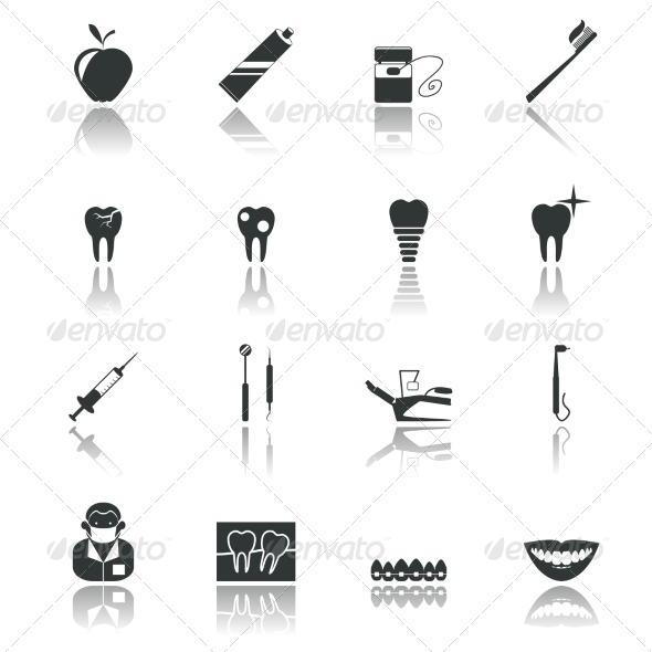 GraphicRiver Black Dental Icons 8254362